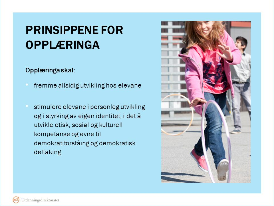 Prinsippene for opplæringa