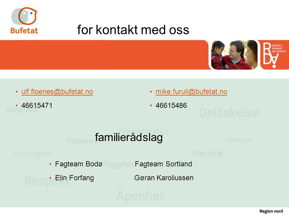 for kontakt med oss familierådslag ulf.floenes@bufetat.no 46615471