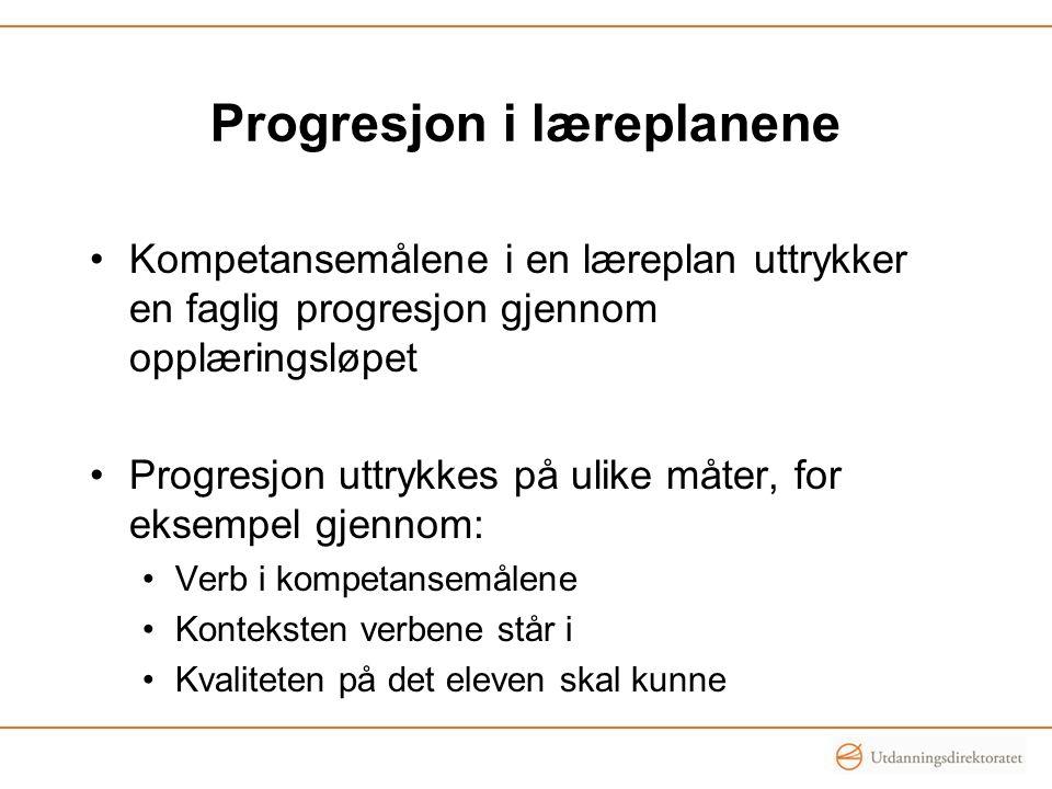 Progresjon i læreplanene