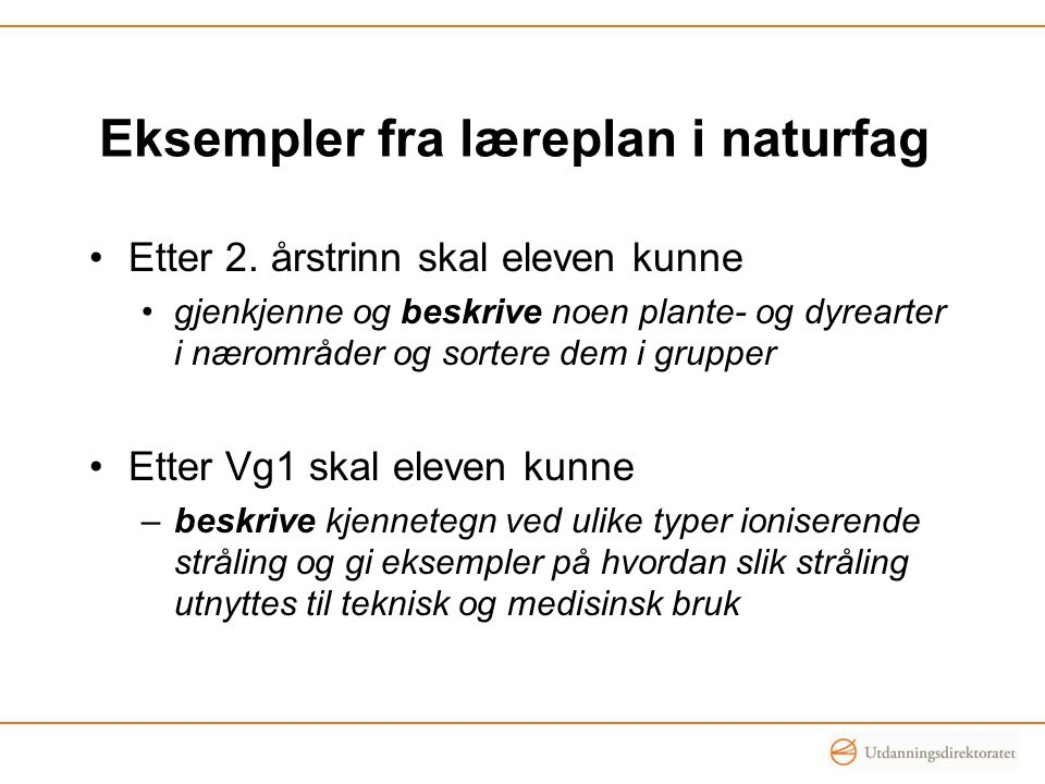 Eksempler fra læreplan i naturfag
