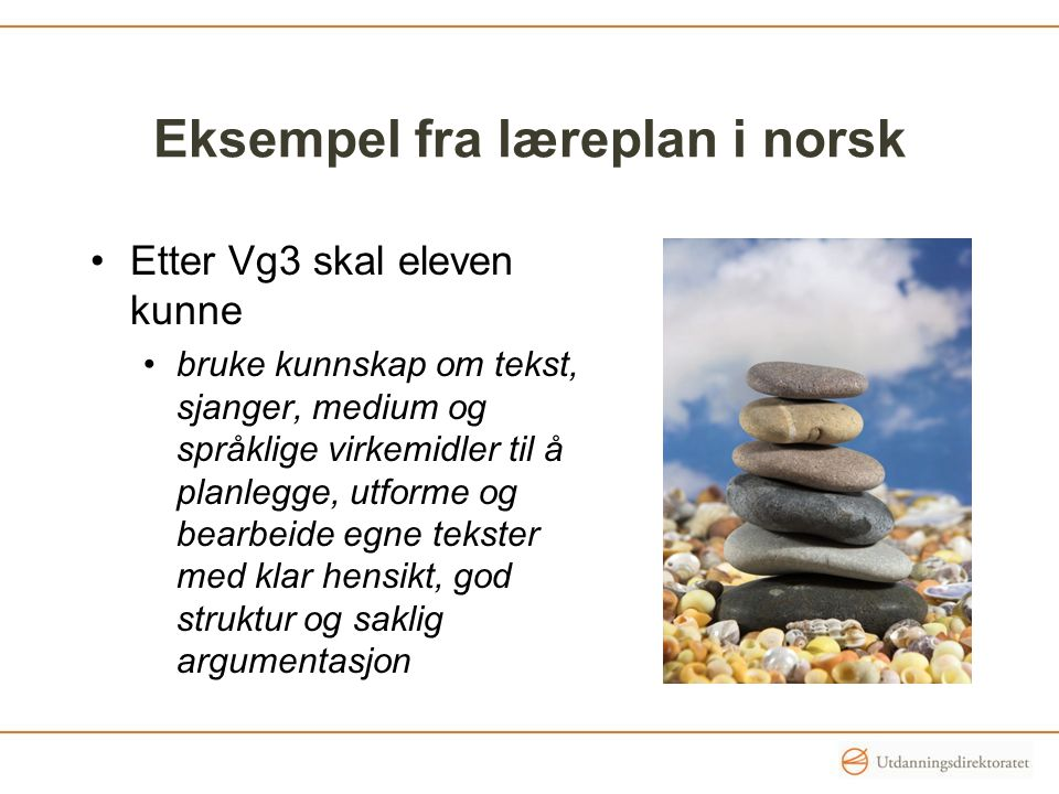 Eksempel fra læreplan i norsk
