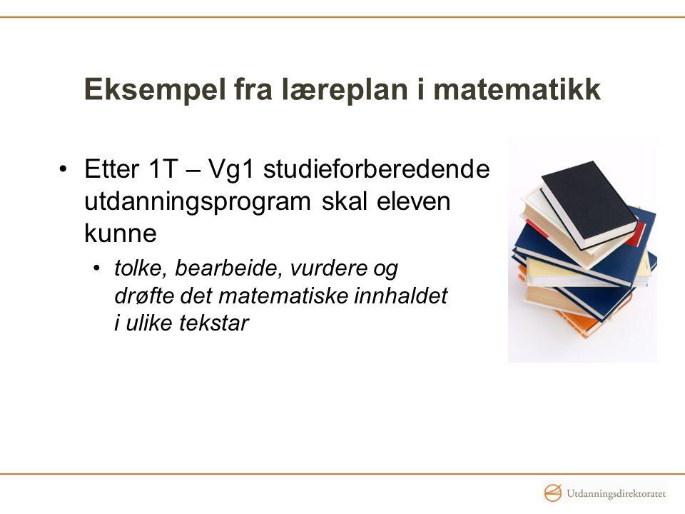 Eksempel fra læreplan i matematikk