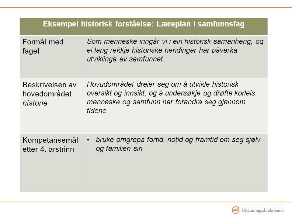 Eksempel historisk forståelse: Læreplan i samfunnsfag