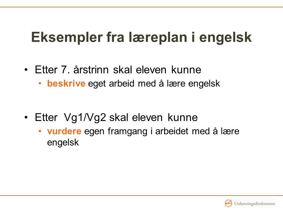 Eksempler fra læreplan i engelsk
