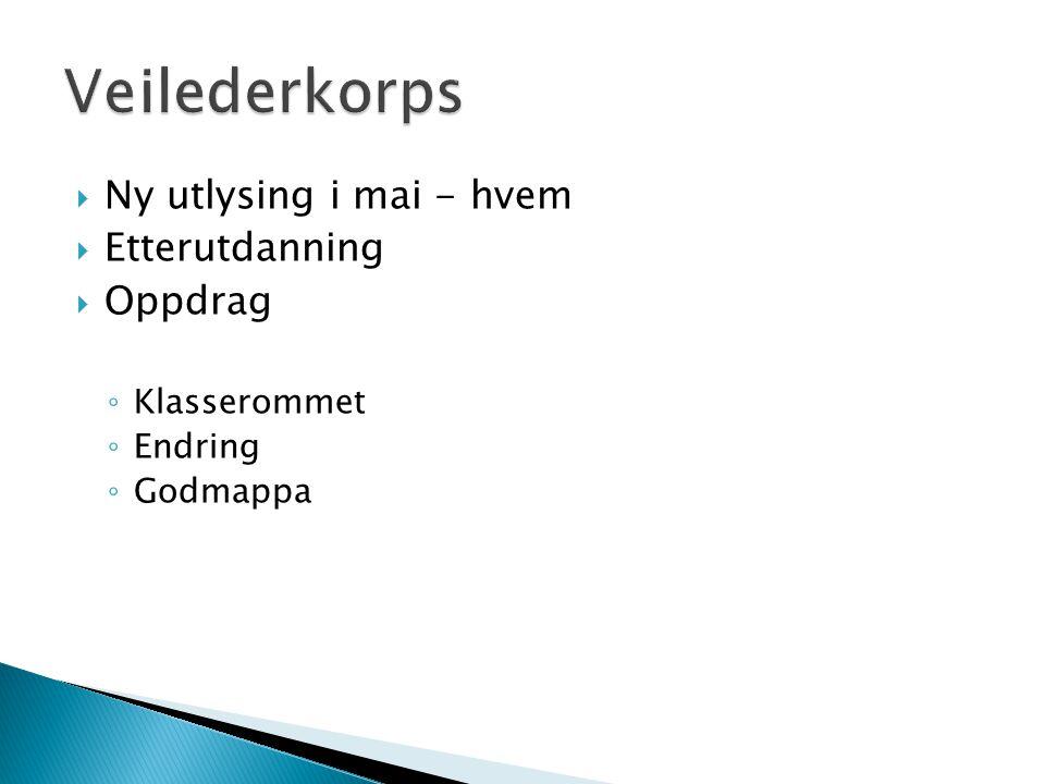 Veilederkorps Ny utlysing i mai - hvem Etterutdanning Oppdrag