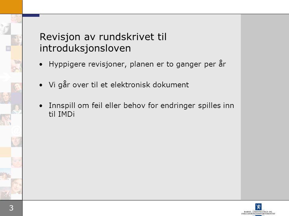 Revisjon av rundskrivet til introduksjonsloven