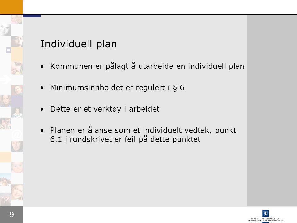 Individuell plan Kommunen er pålagt å utarbeide en individuell plan