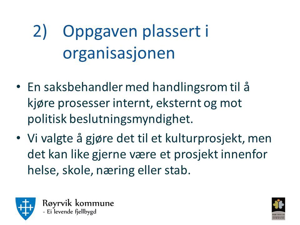 2) Oppgaven plassert i organisasjonen