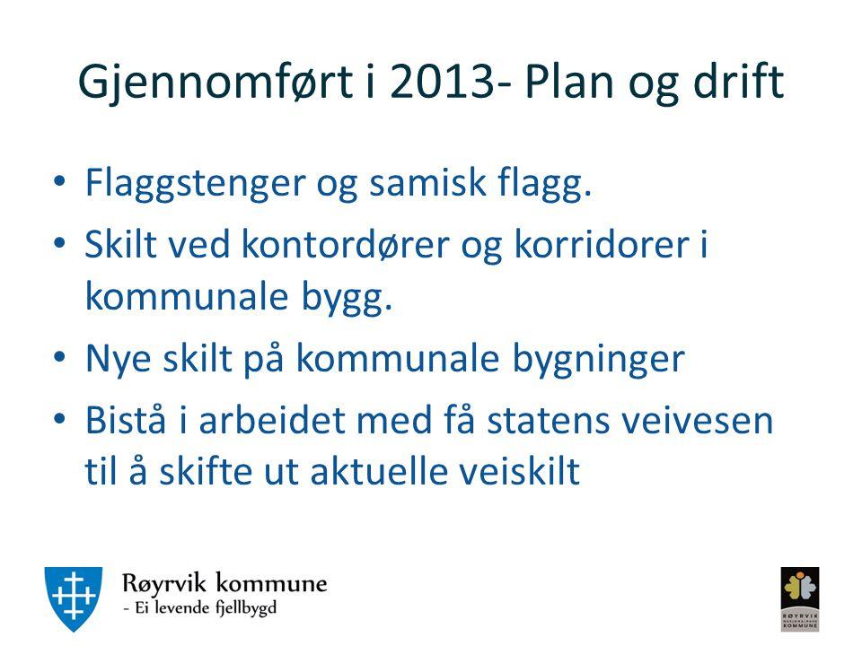 Gjennomført i 2013- Plan og drift