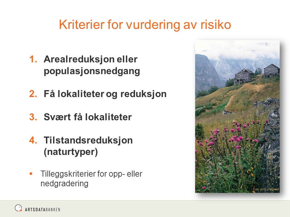 Kriterier for vurdering av risiko