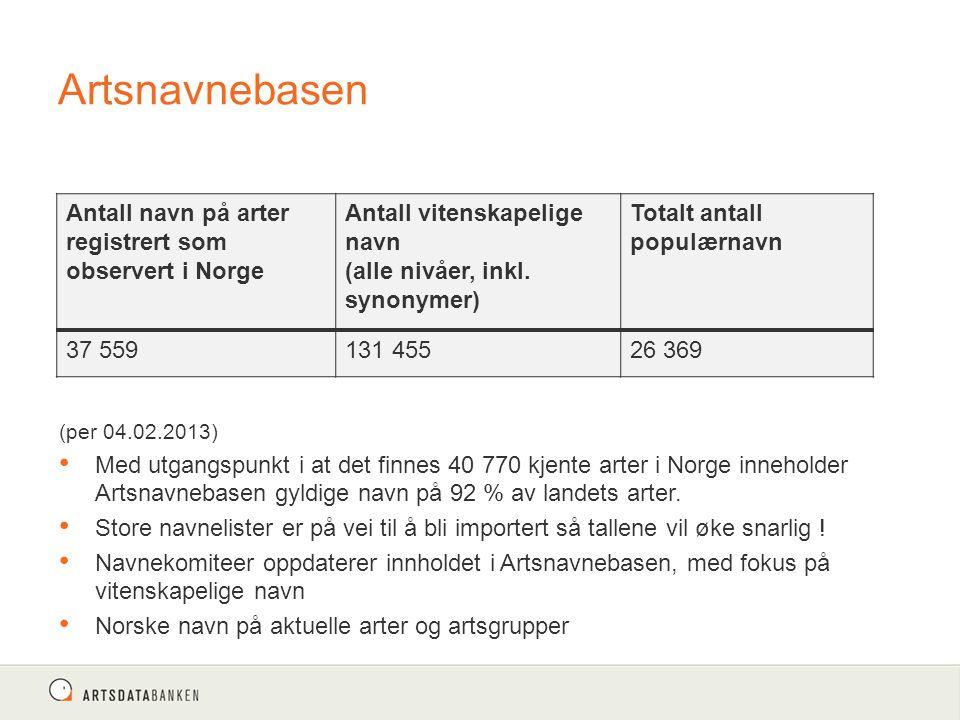 Artsnavnebasen Antall navn på arter registrert som observert i Norge