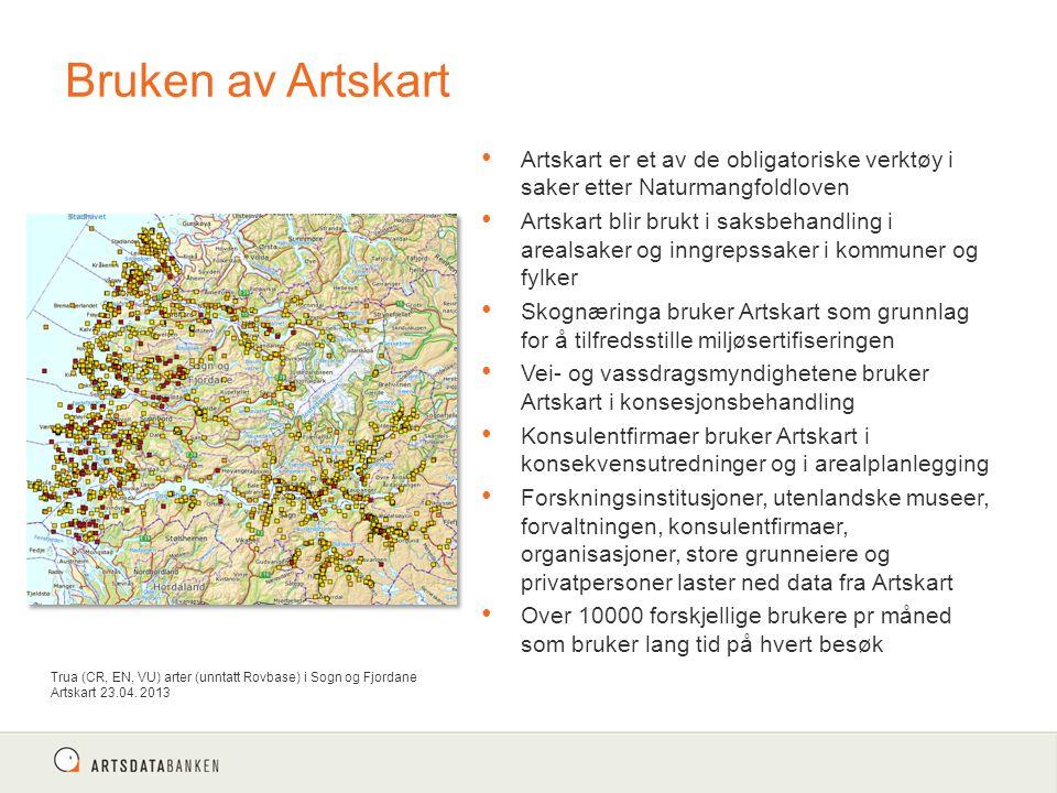 Bruken av Artskart Artskart er et av de obligatoriske verktøy i saker etter Naturmangfoldloven.