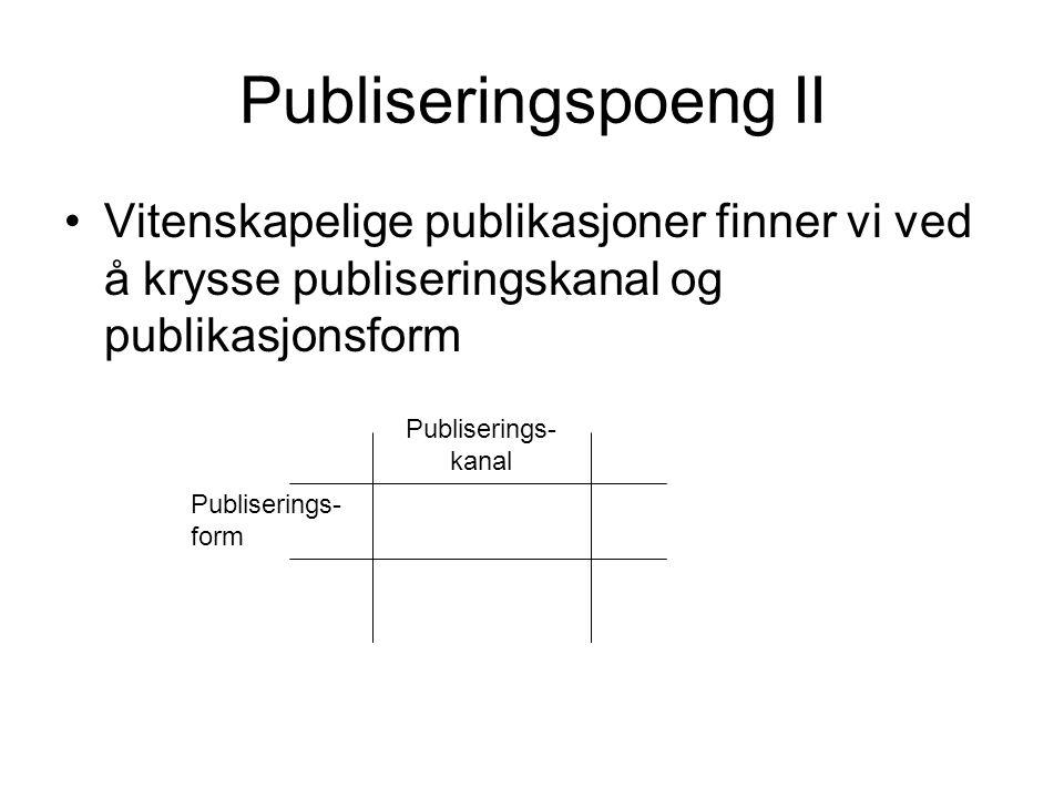 Publiseringspoeng II Vitenskapelige publikasjoner finner vi ved å krysse publiseringskanal og publikasjonsform.