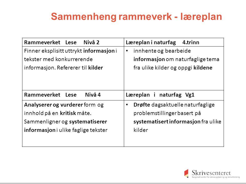 Sammenheng rammeverk - læreplan
