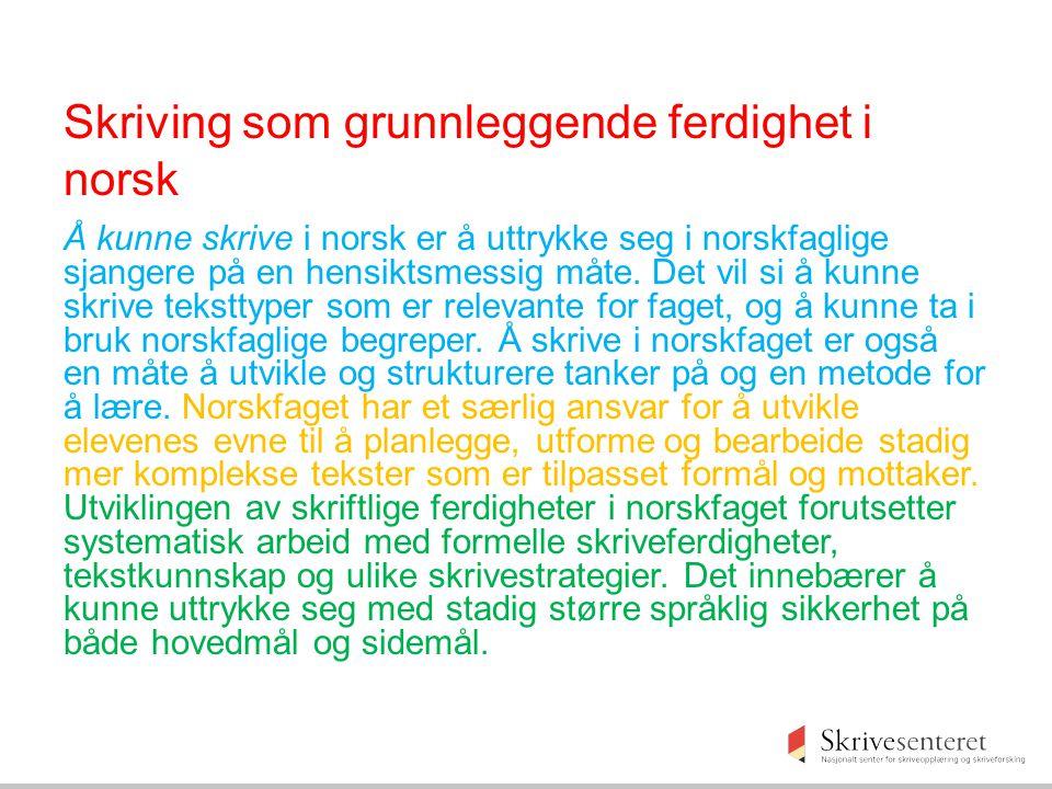 Skriving som grunnleggende ferdighet i norsk