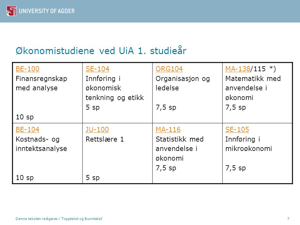 Økonomistudiene ved UiA 1. studieår