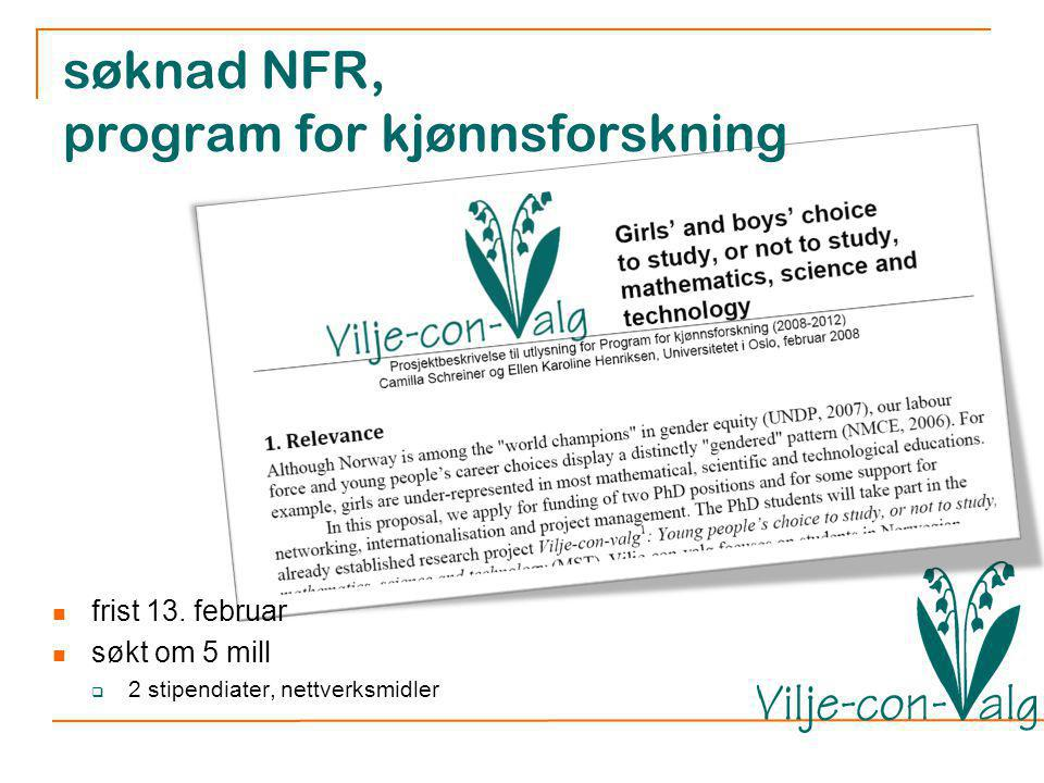 søknad NFR, program for kjønnsforskning