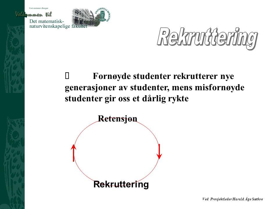 Rekruttering Ÿ Fornøyde studenter rekrutterer nye generasjoner av studenter, mens misfornøyde studenter gir oss et dårlig rykte.
