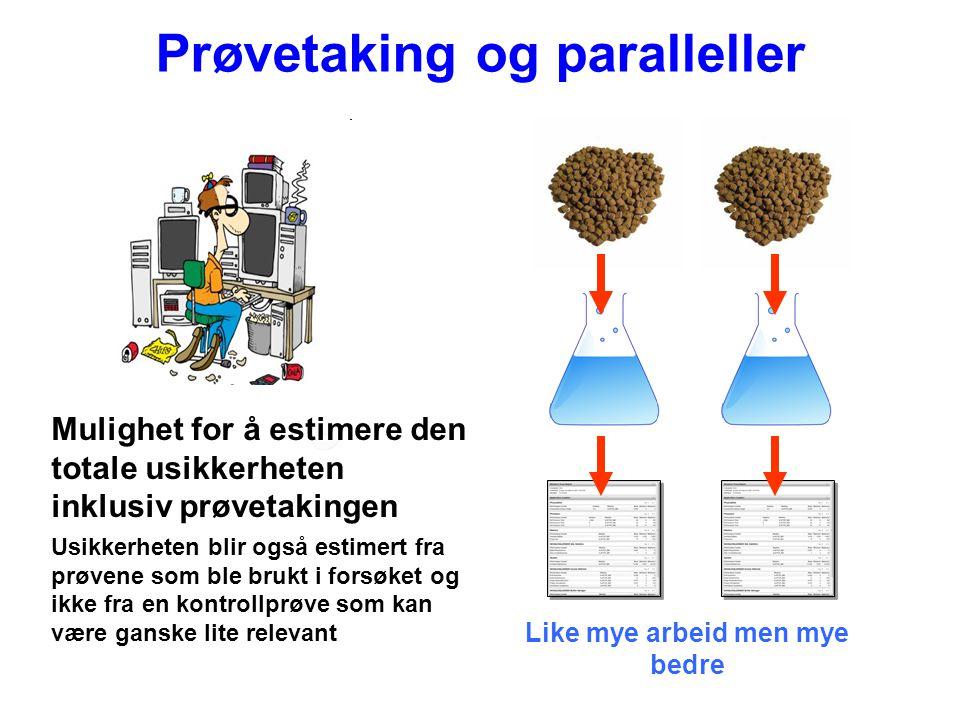 Prøvetaking og paralleller Like mye arbeid men mye bedre