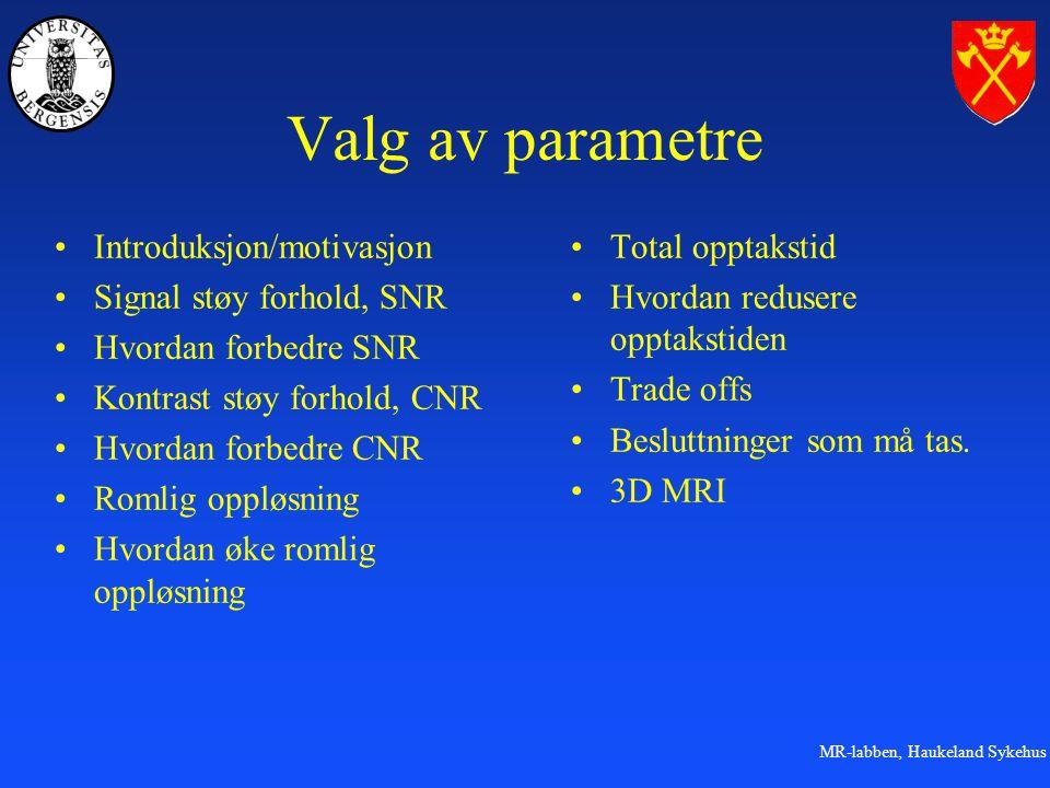Valg av parametre Introduksjon/motivasjon Signal støy forhold, SNR