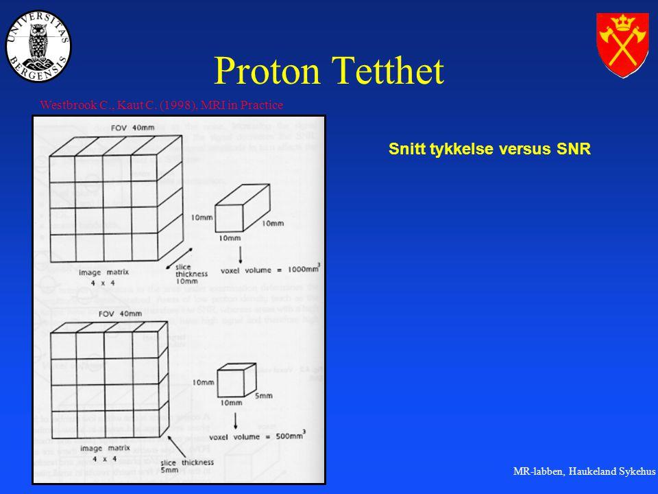 Proton Tetthet Snitt tykkelse versus SNR