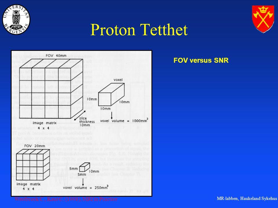 Proton Tetthet FOV versus SNR