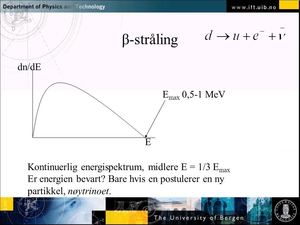 β-stråling dn/dE Emax 0,5-1 MeV E