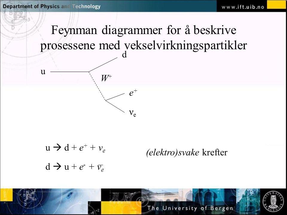 Feynman diagrammer for å beskrive prosessene med vekselvirkningspartikler