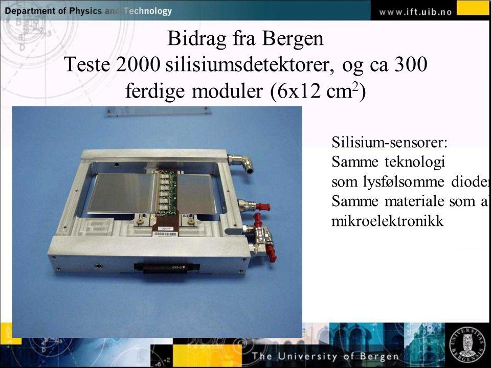 Bidrag fra Bergen Teste 2000 silisiumsdetektorer, og ca 300 ferdige moduler (6x12 cm2)