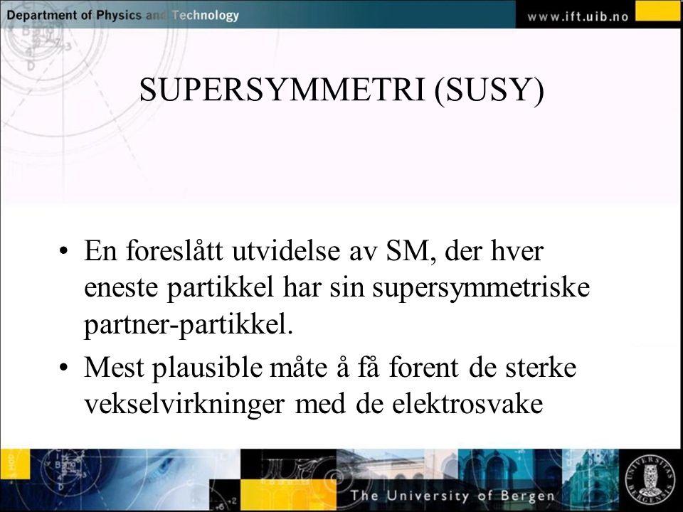 SUPERSYMMETRI (SUSY) En foreslått utvidelse av SM, der hver eneste partikkel har sin supersymmetriske partner-partikkel.