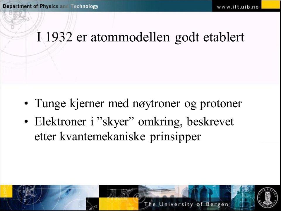 I 1932 er atommodellen godt etablert