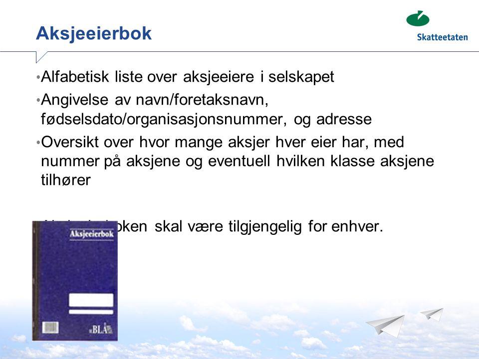 Aksjeeierbok Alfabetisk liste over aksjeeiere i selskapet