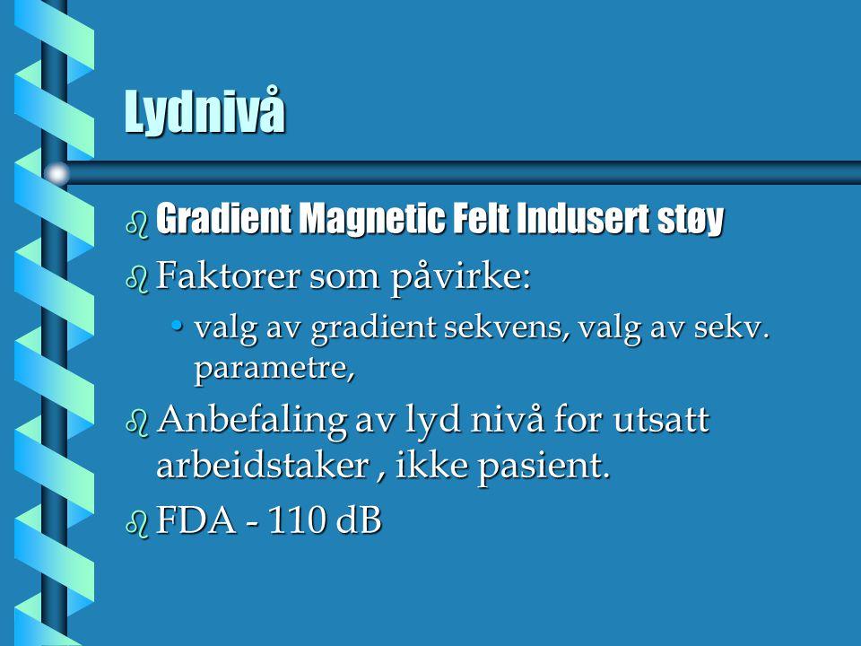 Lydnivå Gradient Magnetic Felt Indusert støy Faktorer som påvirke: