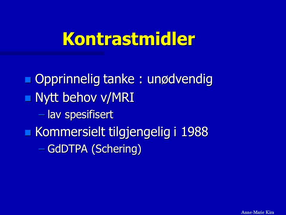Kontrastmidler Opprinnelig tanke : unødvendig Nytt behov v/MRI