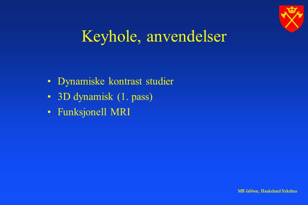 Keyhole, anvendelser Dynamiske kontrast studier 3D dynamisk (1. pass)