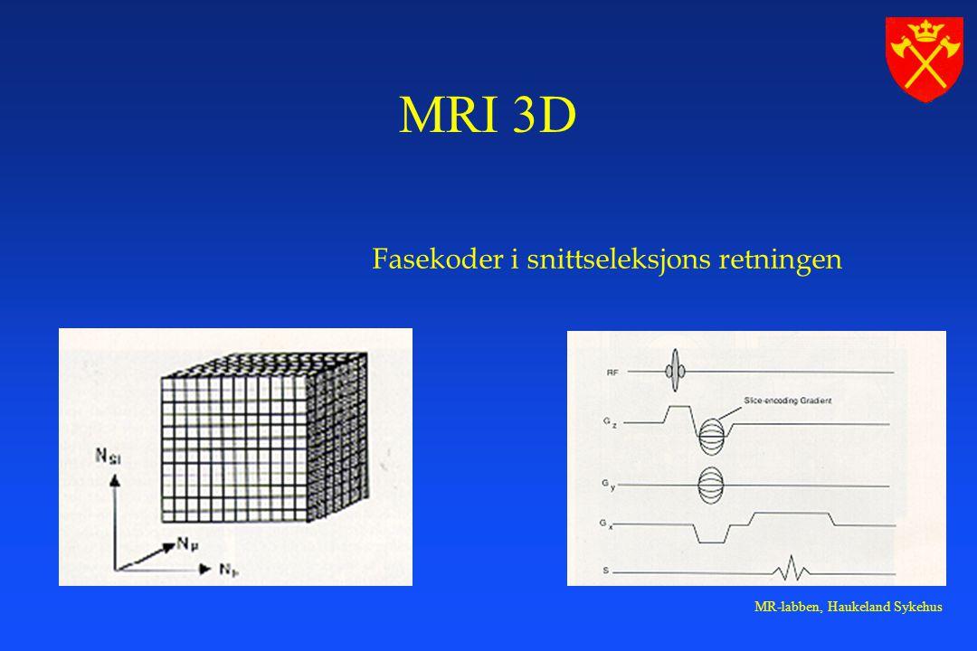 MRI 3D Fasekoder i snittseleksjons retningen