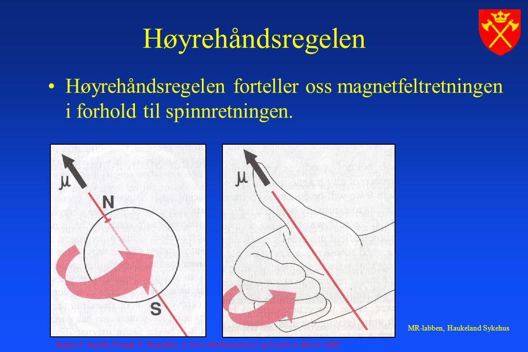 Høyrehåndsregelen Høyrehåndsregelen forteller oss magnetfeltretningen i forhold til spinnretningen.