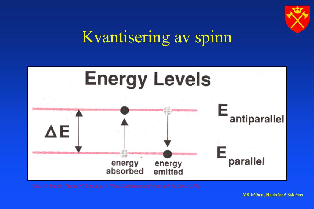 Kvantisering av spinn Hans-J. Smith, Frank N. Ranallo, A Non Mathematical Aproach to Basic MRI