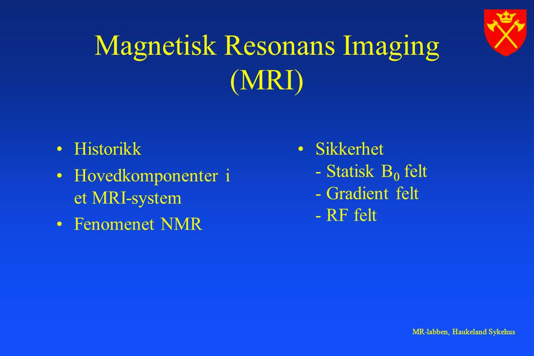 Magnetisk Resonans Imaging (MRI)