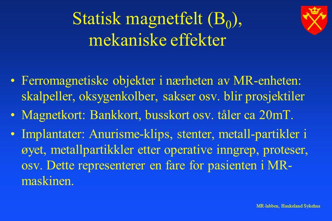 Statisk magnetfelt (B0), mekaniske effekter