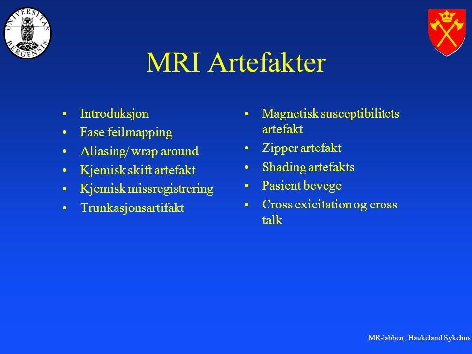 MRI Artefakter Introduksjon Fase feilmapping Aliasing/ wrap around
