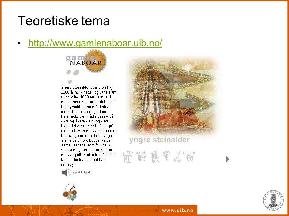 Teoretiske tema http://www.gamlenaboar.uib.no/