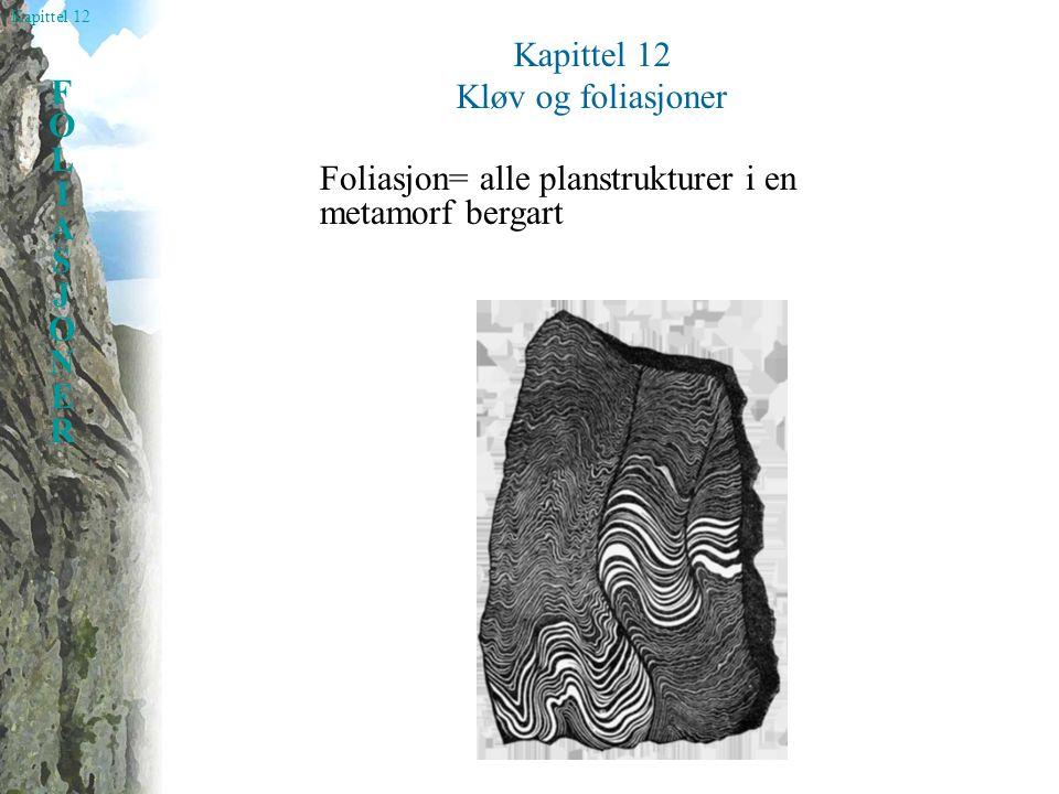 Kapittel 12 Kløv og foliasjoner Foliasjon= alle planstrukturer i en metamorf bergart