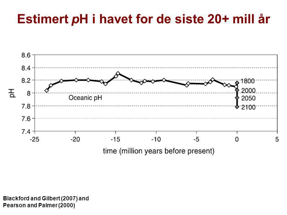 Estimert pH i havet for de siste 20+ mill år