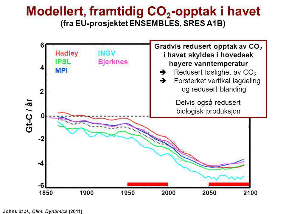 Modellert, framtidig CO2-opptak i havet