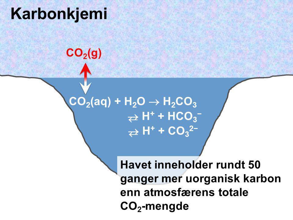 Karbonkjemi CO2(g) CO2(aq) + H2O  H2CO3  H+ + HCO3−  H+ + CO32−