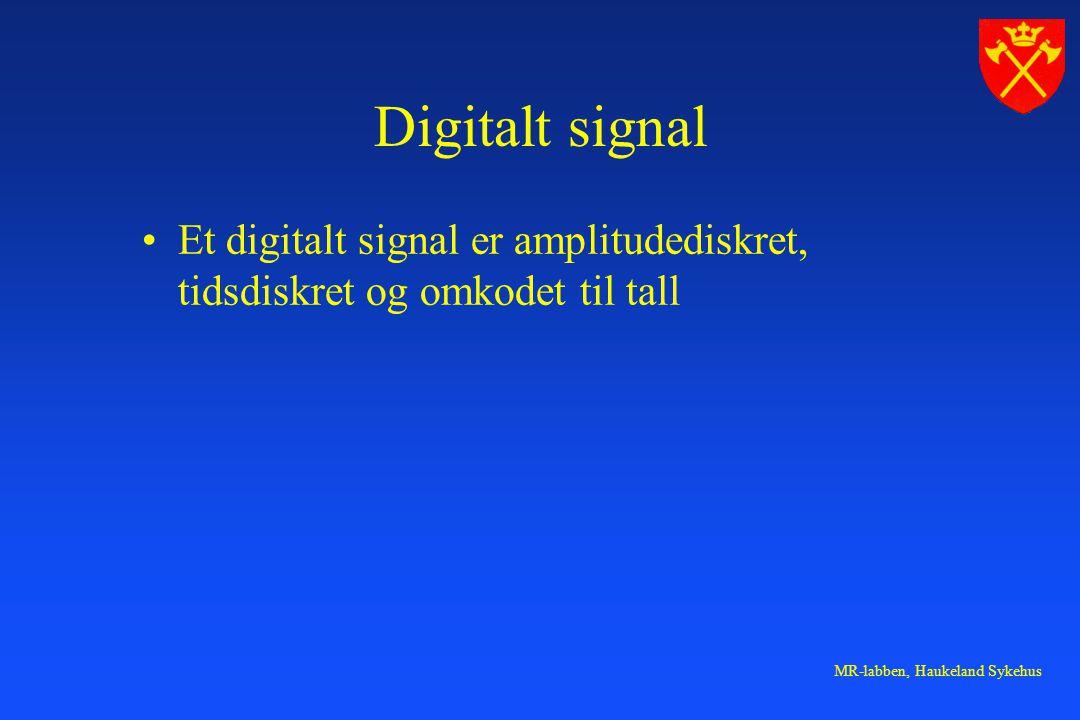 Digitalt signal Et digitalt signal er amplitudediskret, tidsdiskret og omkodet til tall