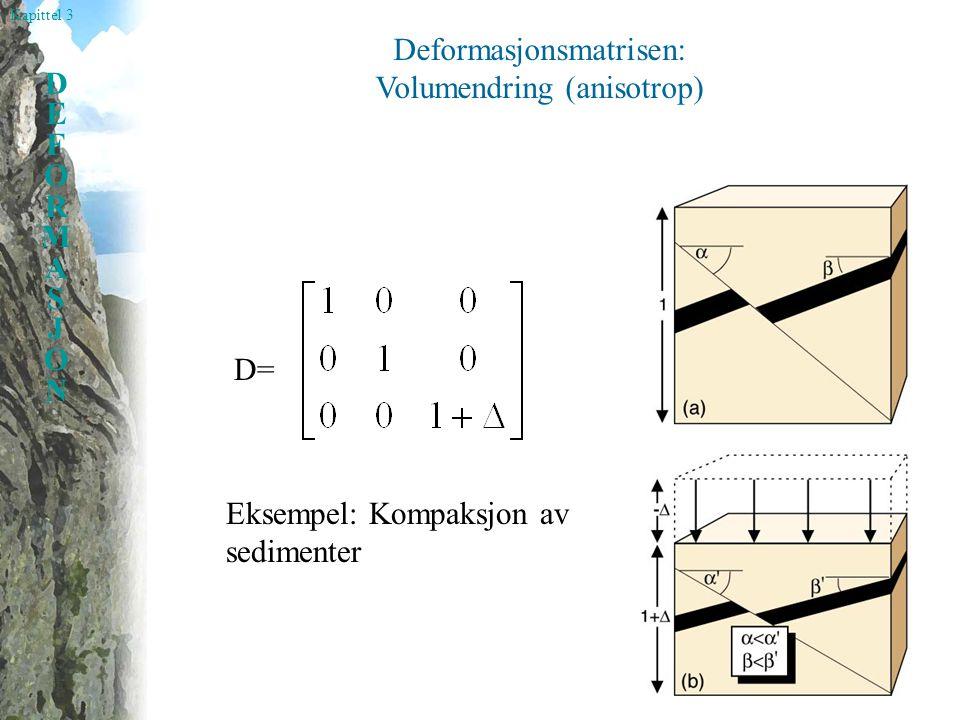 Deformasjonsmatrisen: Volumendring (anisotrop)