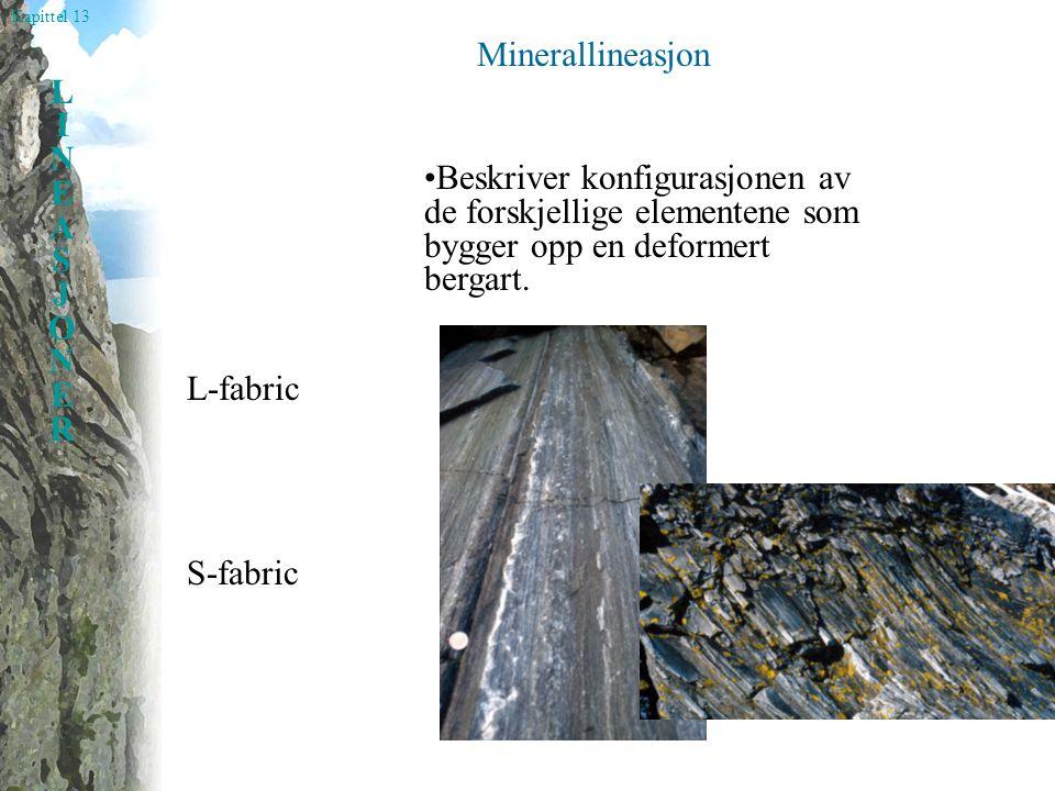 Minerallineasjon •Beskriver konfigurasjonen av de forskjellige elementene som bygger opp en deformert bergart.