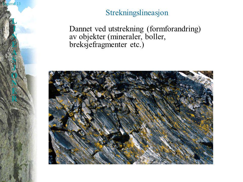 Strekningslineasjon Dannet ved utstrekning (formforandring) av objekter (mineraler, boller, breksjefragmenter etc.)